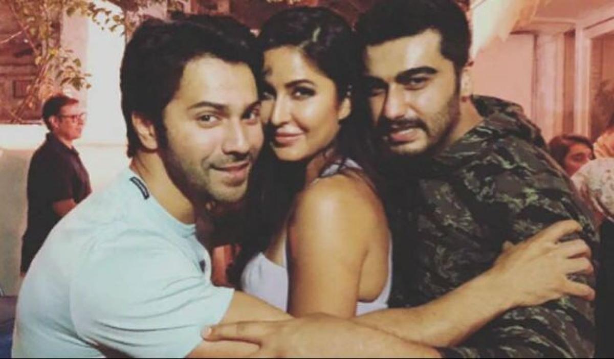 Katrina Kaif (c), Varun Dhawan and Arjun Kapoor (R).