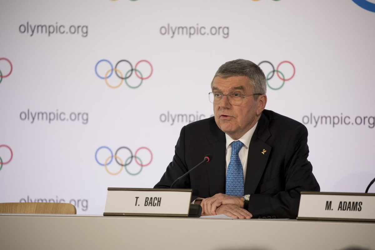 International Olympic Committee (IOC) president Thomas Bach speaks during a press conference in Olympic House after the closing of the IOC Executive Board Meeting in Lausanne, Switzerland, March 4, 2020.