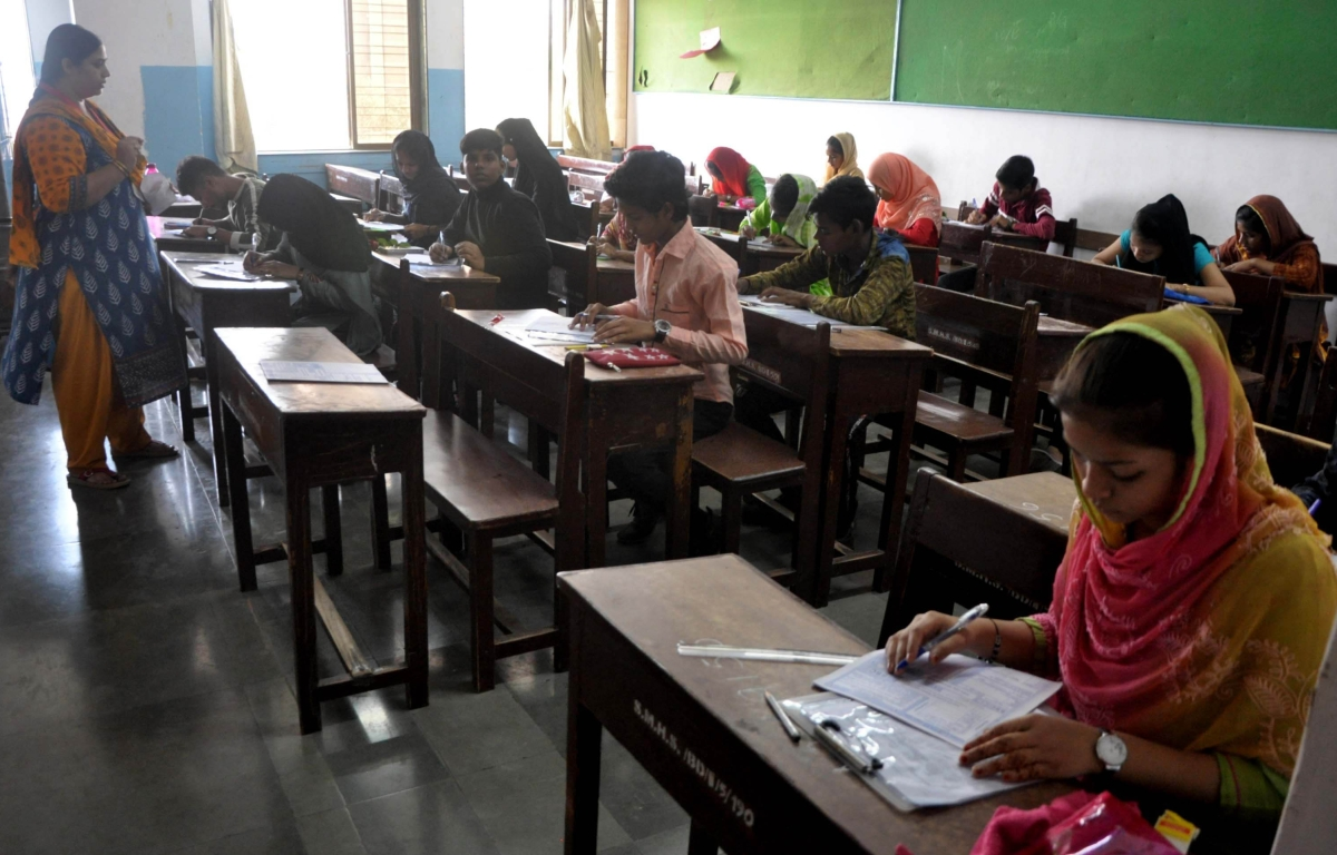 In Pictures: Students appear for SSC board exams at Saraswati Vidya Mandir in Mahim