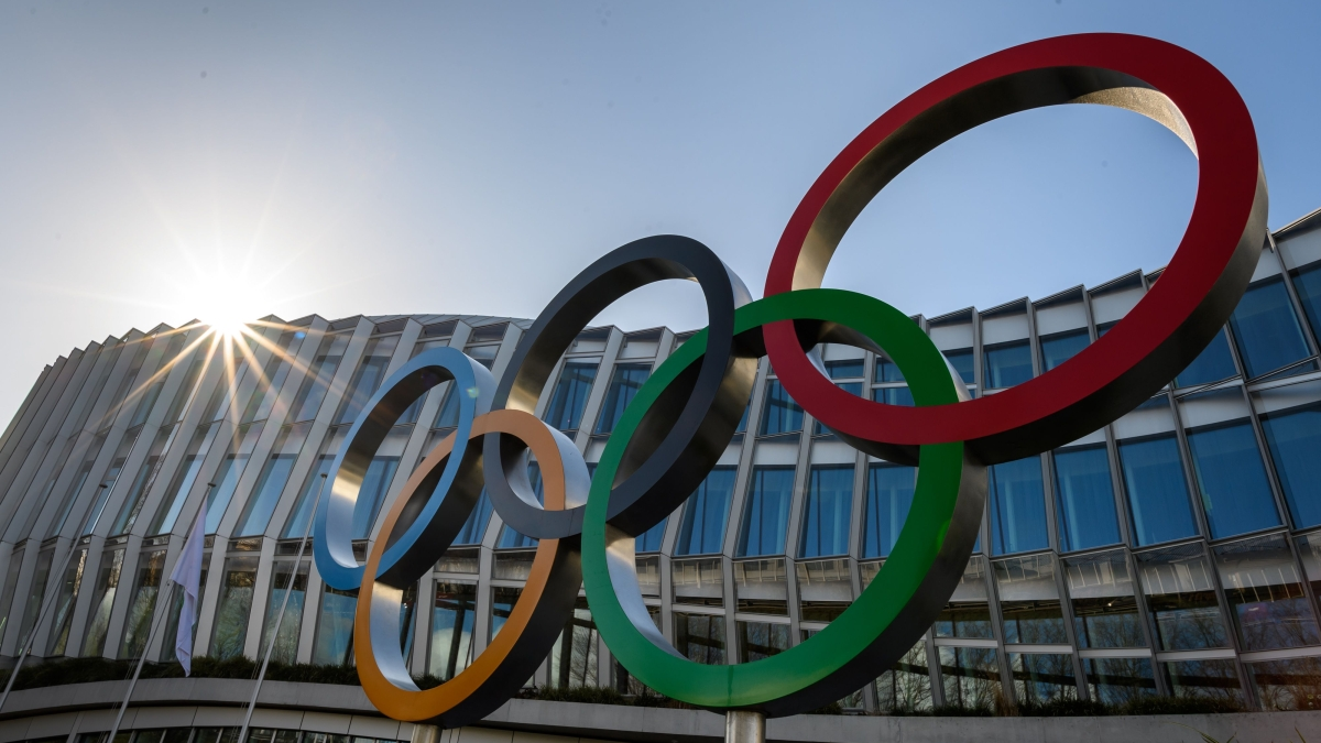 The Olympic Rings are pictured at the International Olympic Committee (IOC) headquarters in Lausanne on March 3, 2020