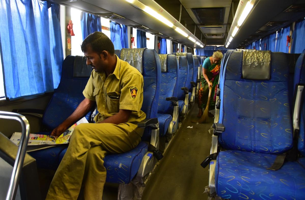 A Mumbai-Pune bus looks empty due to coronavirus scare.