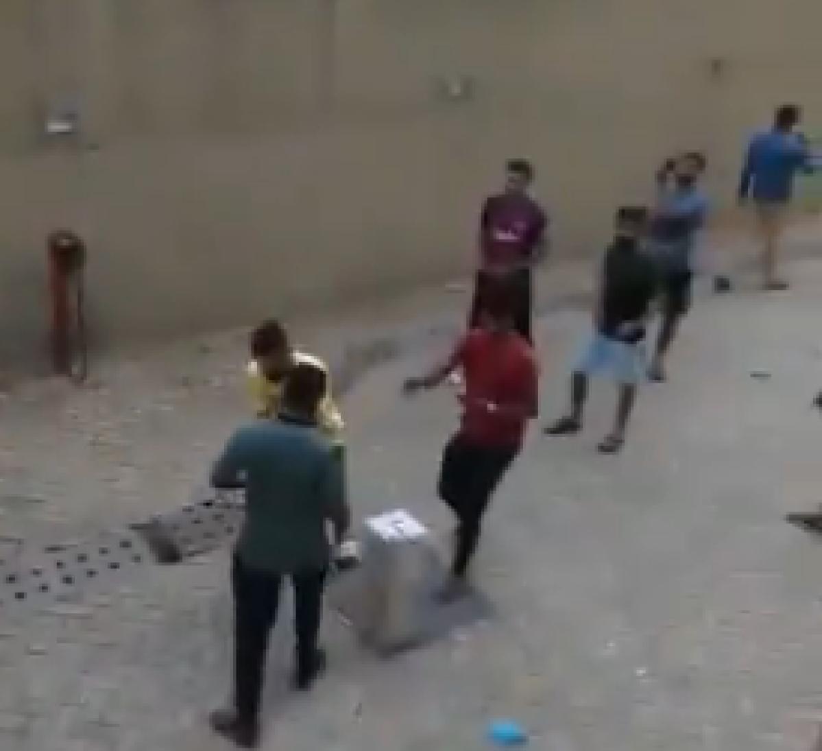 Quarantined individuals playing cricket at Gram Vikas Bhawan in Kharghar in Navi Mumbai.