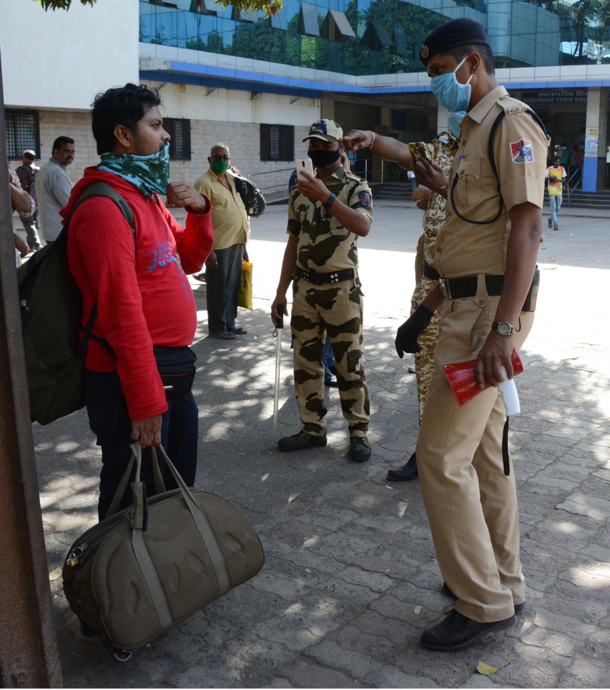 Police checking commuters at Andheri Station