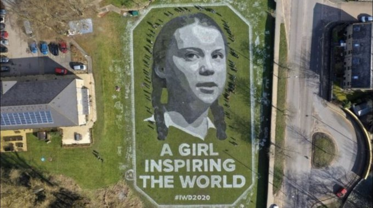 International Women's Day 2020: Greta Thunberg's giant portrait unveils in England