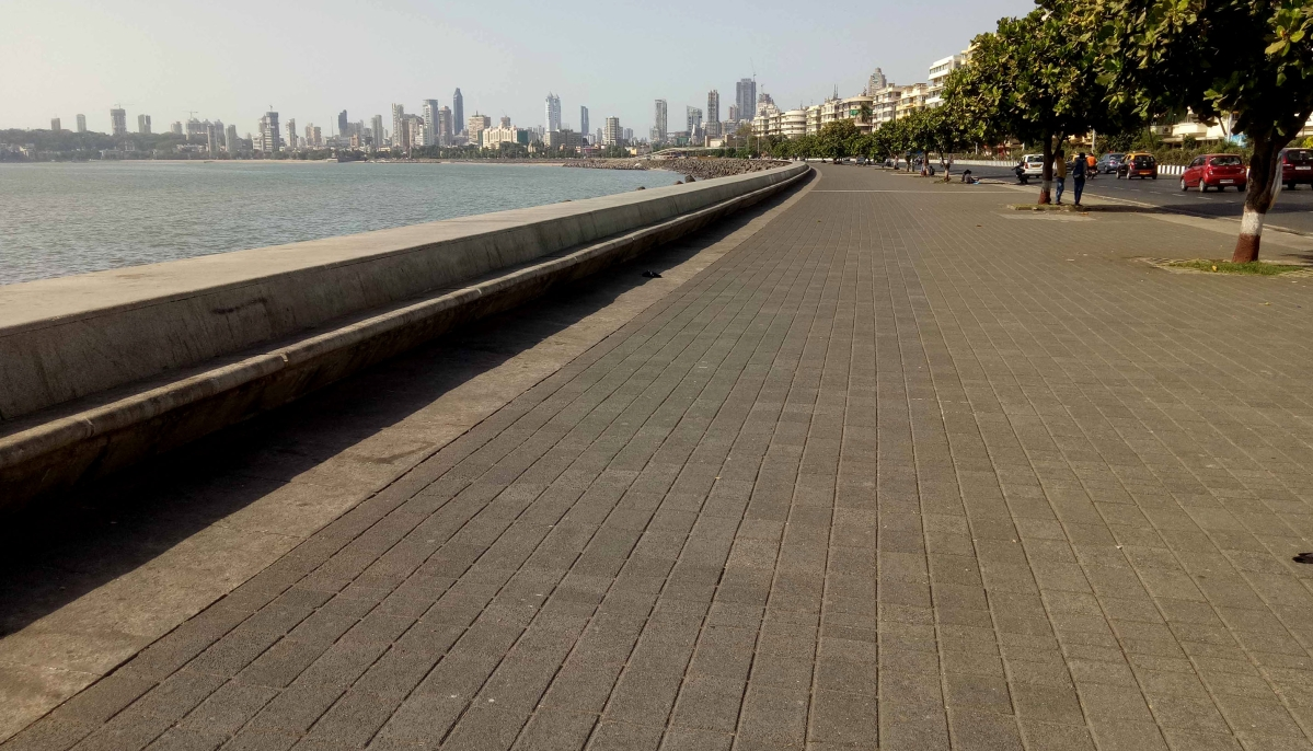 Mumbai's crowded Marine drive looks deserted during coronavirus pandemic.