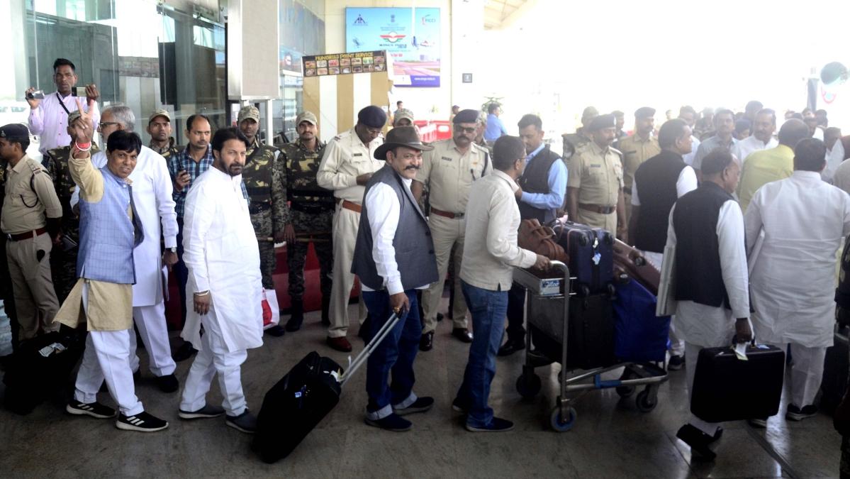 Congress MLAs at Bhopal Airport
