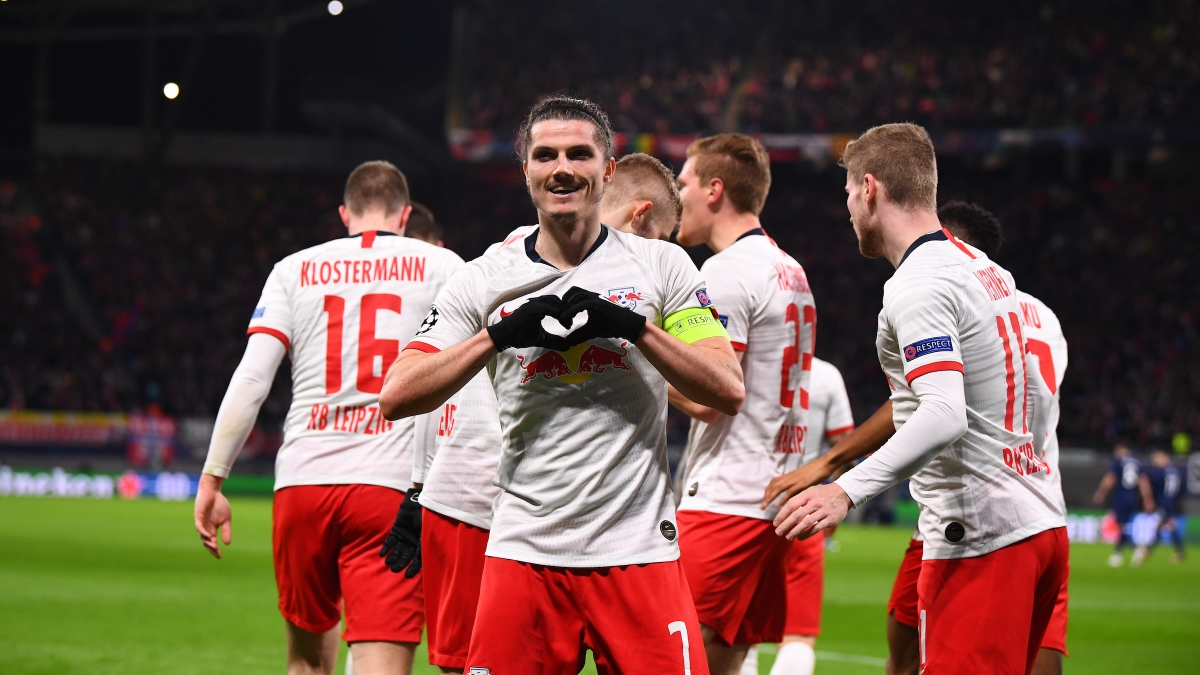 Leipzig's Marcel Sabitzer celebrates after scoring the opener against Tottenham at the Red Bull Arena