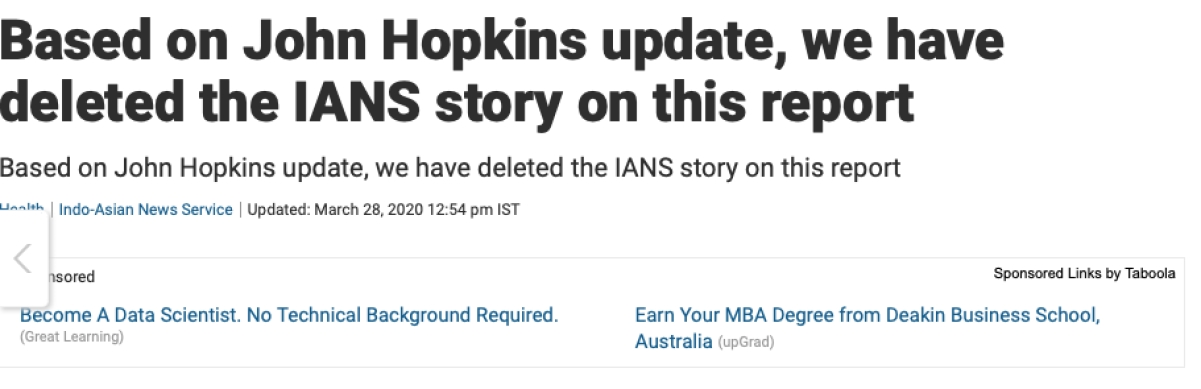 NDTV deletes report on COVID-19 transmission in India as Johns Hopkins distances itself