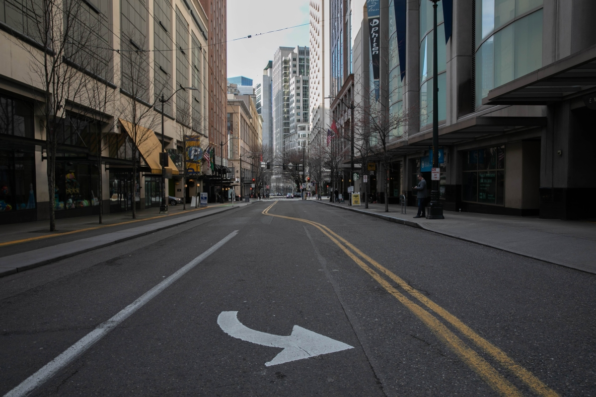 Normally busy downtown streets are virtually empty at rush hour due to coronavirus fears in Seattle, Washington.