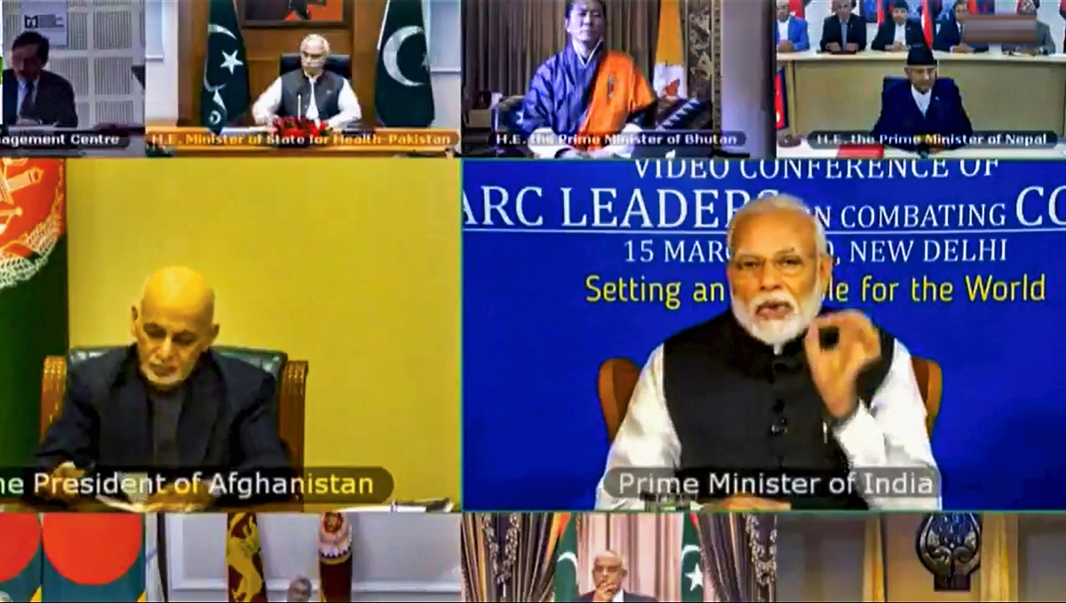 New Delhi: Prime Minister Narendra Modi during a video conference with South Asian Association for Regional Cooperation (SAARC) leaders on chalking out a plan to combat the COVID-19 Novel Coronavirus, in New Delhi.