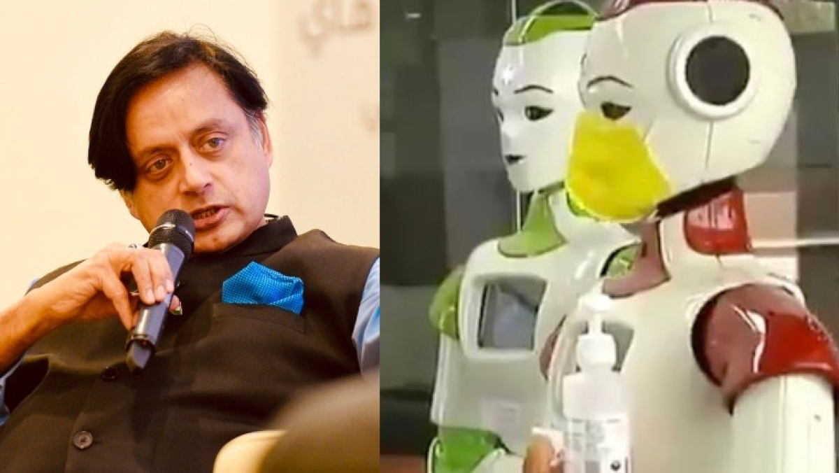 Move aside Terminator: Shashi Tharoor shares adorable video of robots used to dispense sanitizers in Kerala