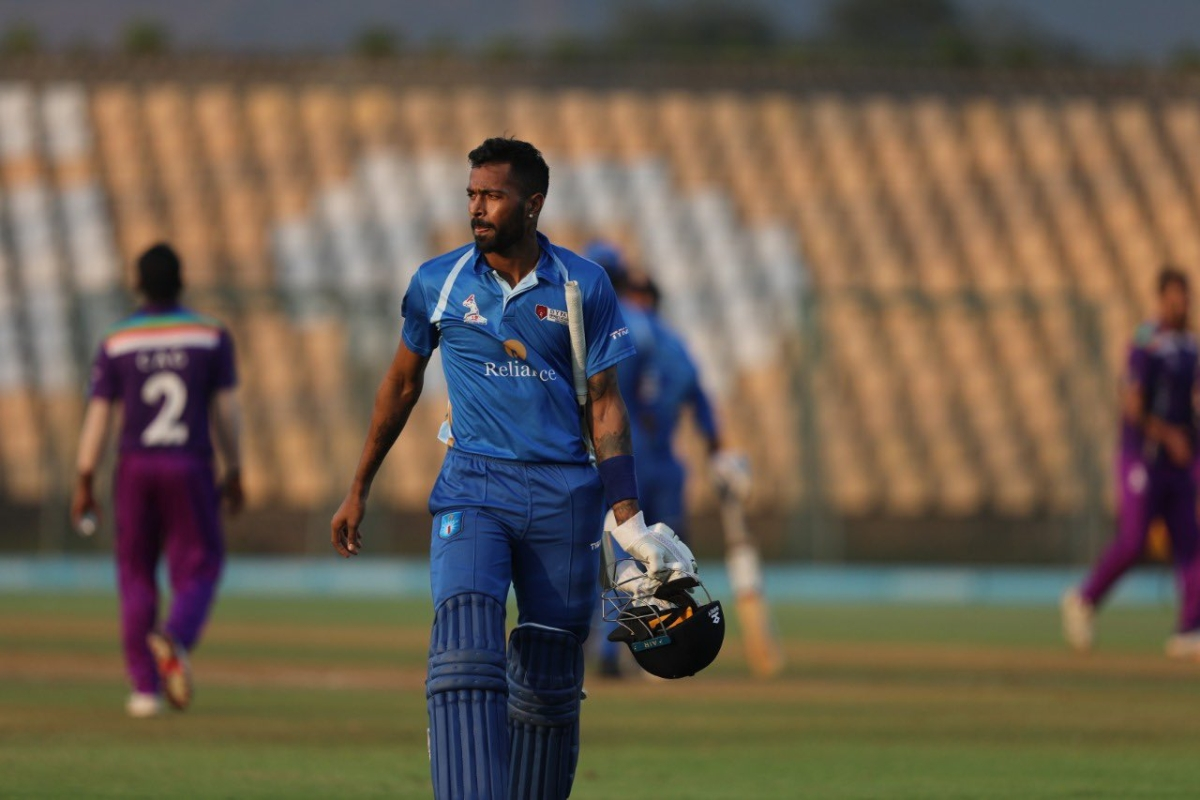 DY Patil T20 Cup: Hardik Pandya slams 55-ball 158 against BPCL