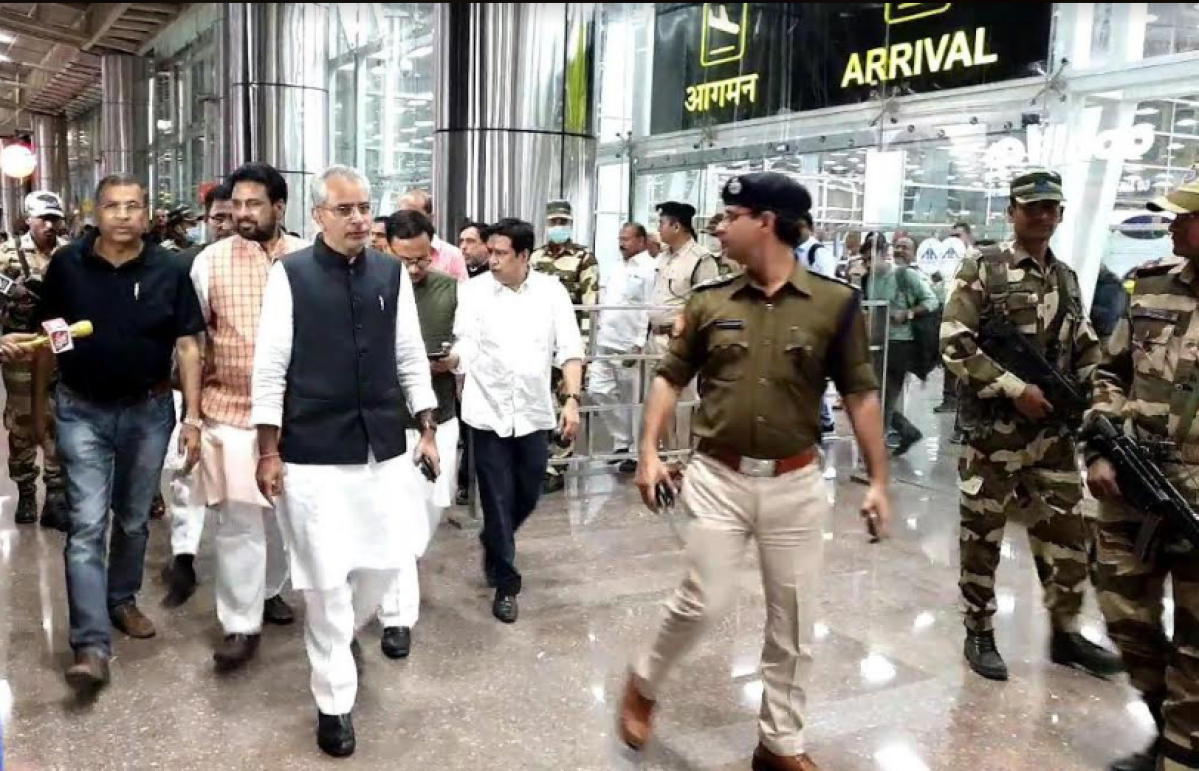 Congress Gujarat MLAs arrive at Jaipur Airport on Saturday.