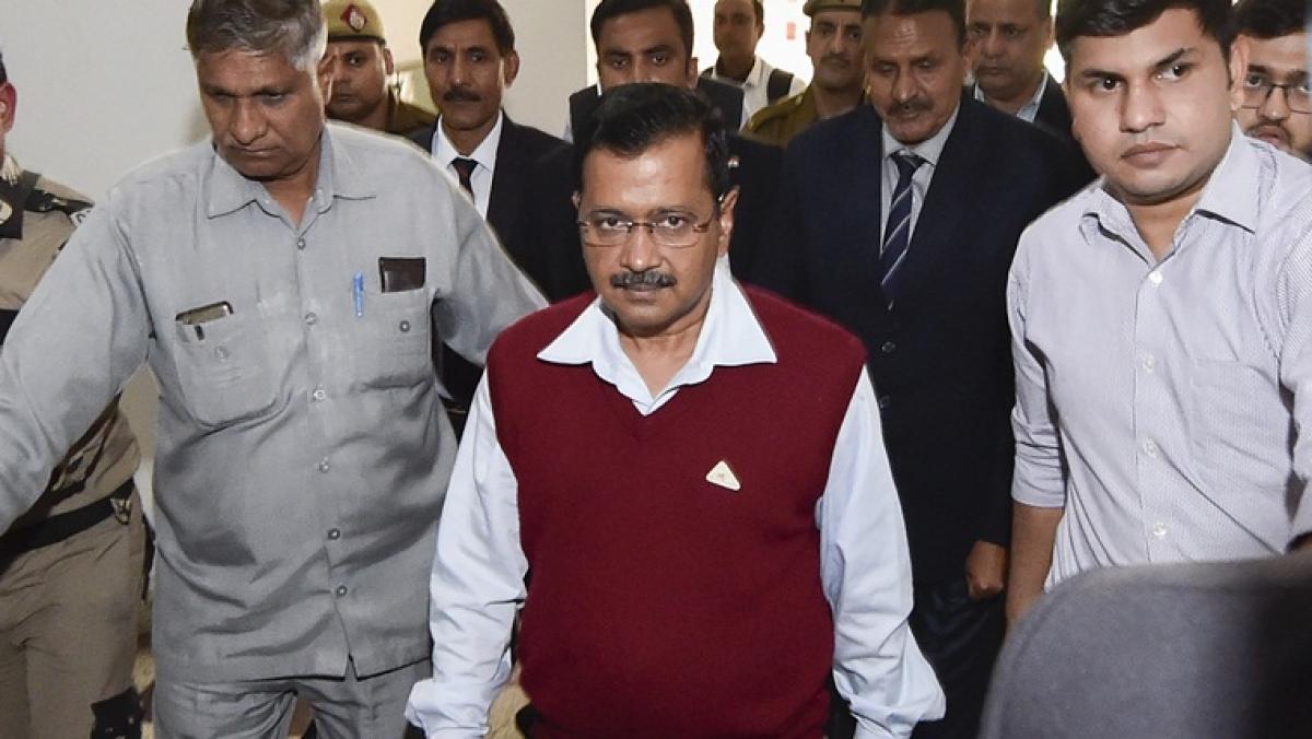 Delhi CM Arvind Kejriwal arrives for a special session of 17th Legislative Assembly of Delhi at Delhi Vidhan Sabha in New Delhi, Friday