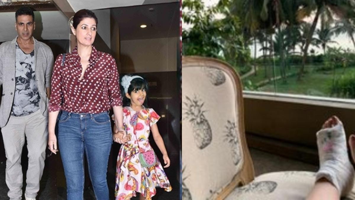 Twinkle Khanna's daughter Nitara writes 'poop' on her fractured foot; see pic