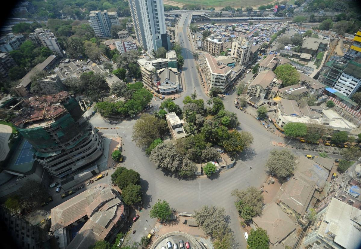 Aerial view of empty Mumbai streets