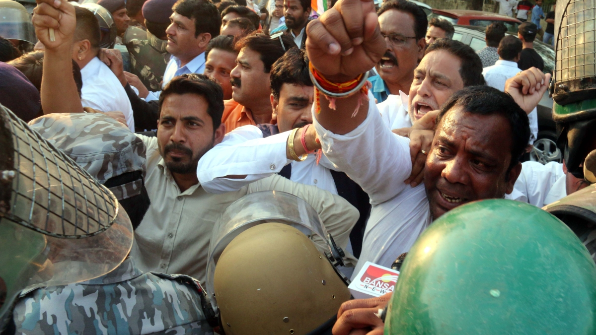 Congress workers protest at BJP HQ