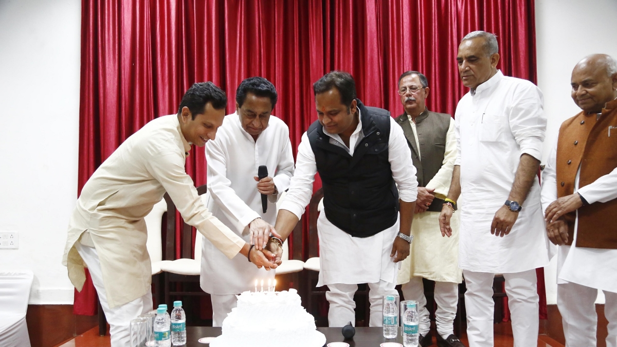 Chief minister Kamal Nath, GAD minister Dr Govind Singh and Congress leader Ajay Singh grace  the occasion when minister for tourism Surendra Singh Baghel and party MLA Nilansu Chaturvedi celebrate their birthdays at Congress Legislature Party(CLP) meeting on Tuesday