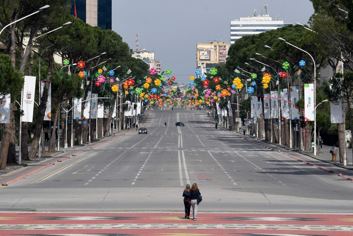 A picture taken on March 14, 2020, shows the empty main Boulevard of Tirana, amid the outbreak of COVID-19.