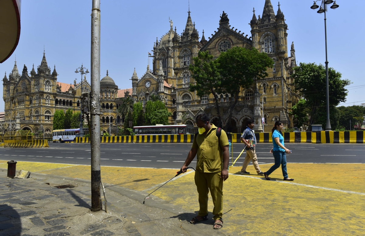 Workers sanitizing the area outside the BMC office in South Mumbai