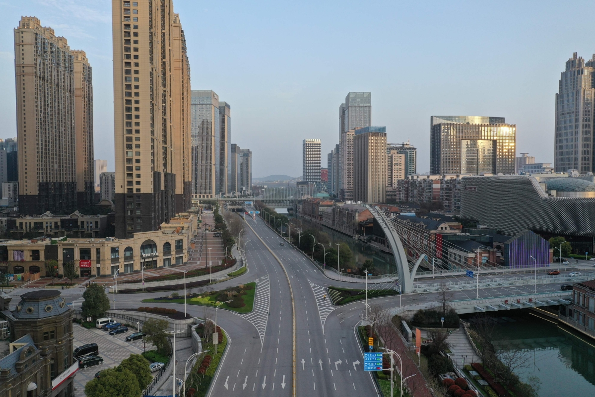 This aerial photo taken on March 10, 2020 shows an empty street in Wuhan in China's central Hubei province.