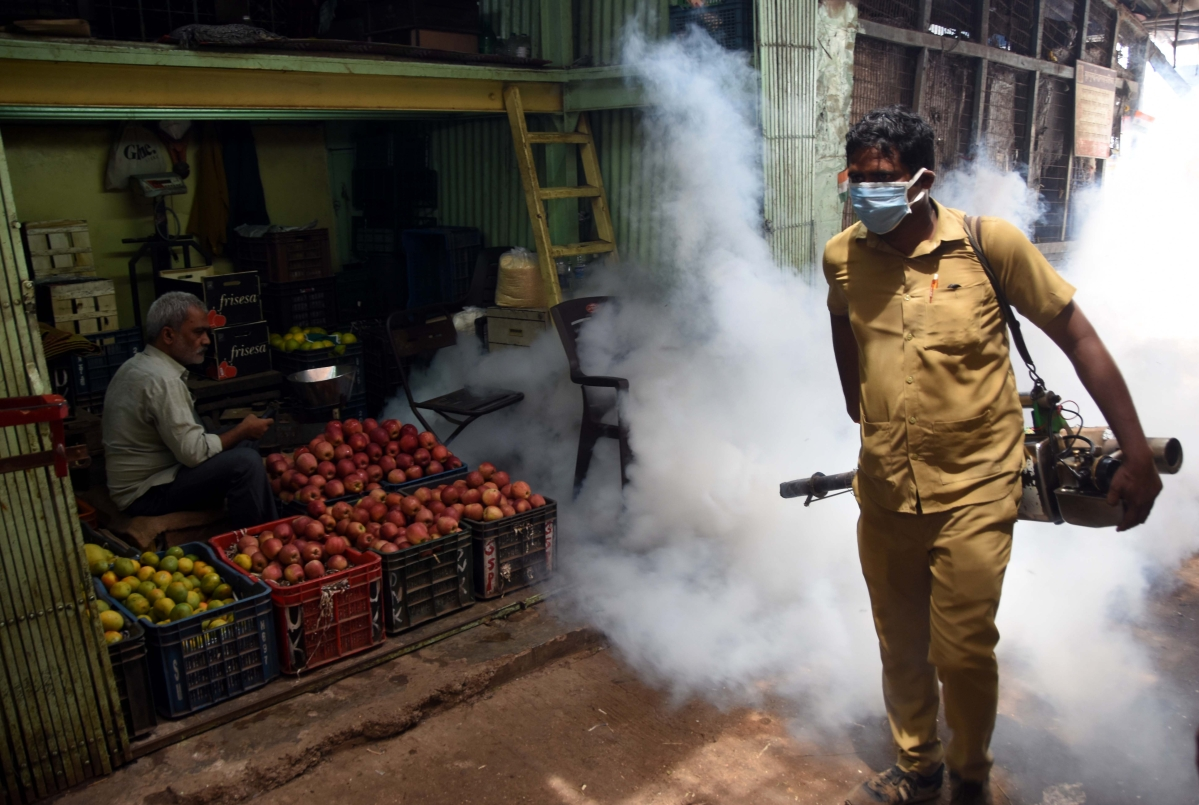Pest control in Byculla Market.