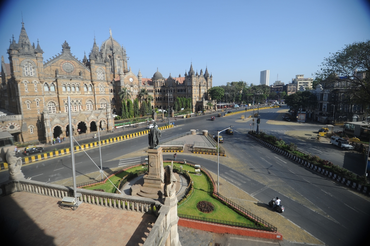 The usually crowded area outside CST appeared deserted on Saturday.