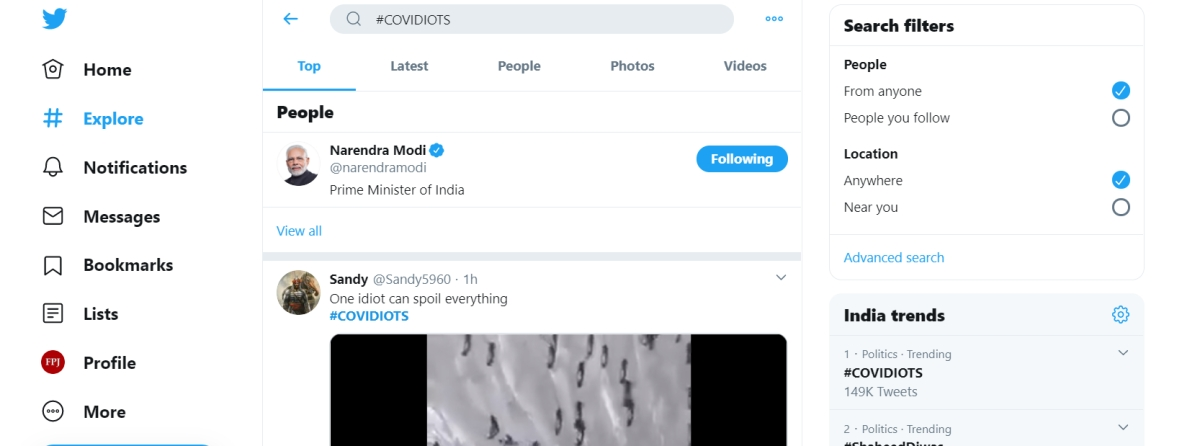 Comedy in the time of coronavirus: If you search #COVIDIOTS on Twitter, you get PM Modi's handle!