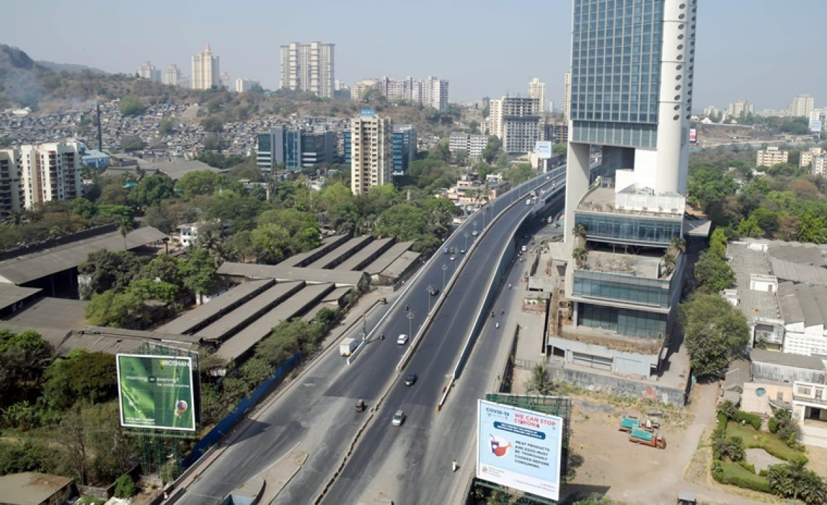 A deserted view of road during an outbreak of (COVID-19) Coronavirus in Mumbai.