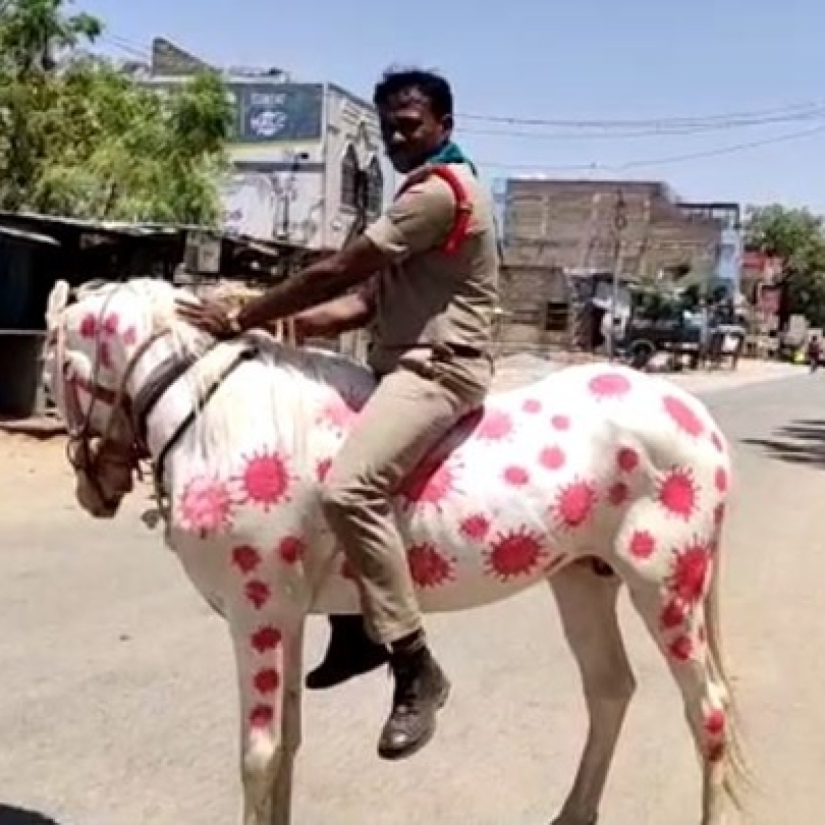 'Animal cruelty': Twitter reacts to Andhra Pradesh cop riding a horse painted with images of COVID-19 virus