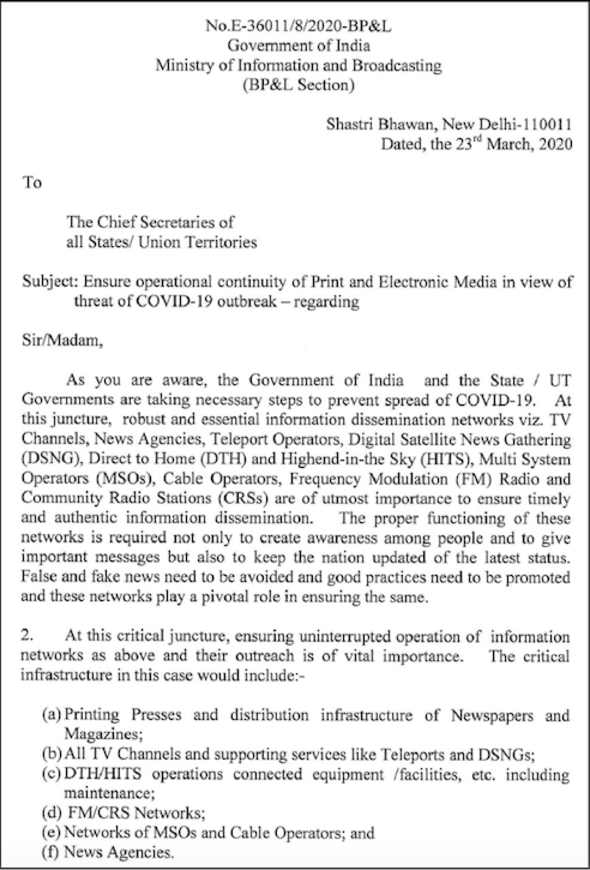 Ensure continuous operation of print, electronic media to curb spread of fake news amid COVID-19: I&B Ministry requests state govts