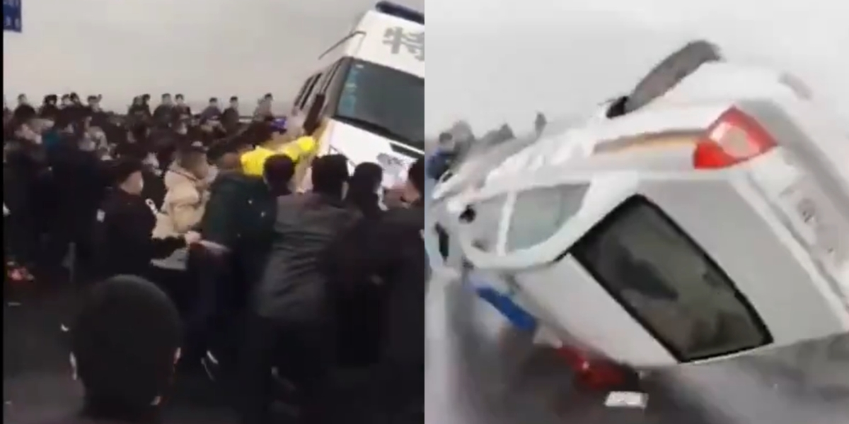 Watch: China's 'All is Well' mask slips as Hubei citizens clash with cops amid coronavirus lockdown