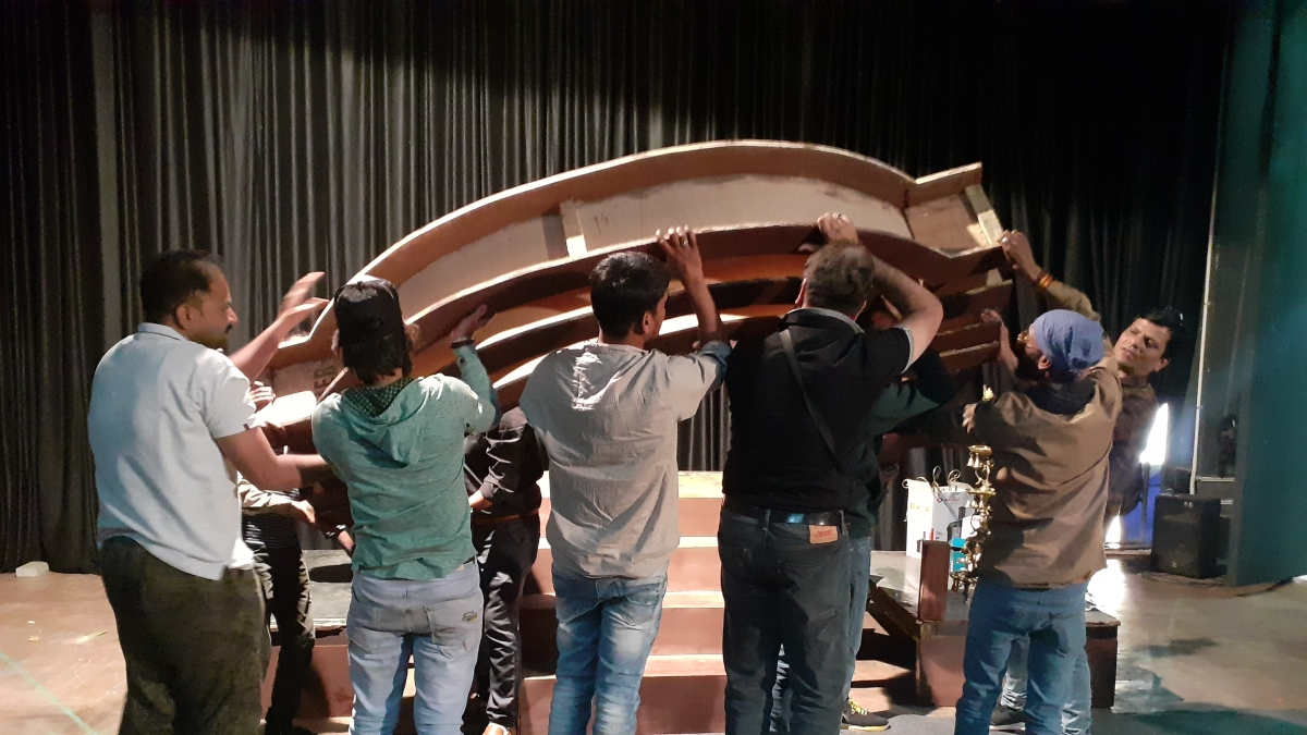 Set being removed after the cancellation of the play at 5pm due to corona virus.