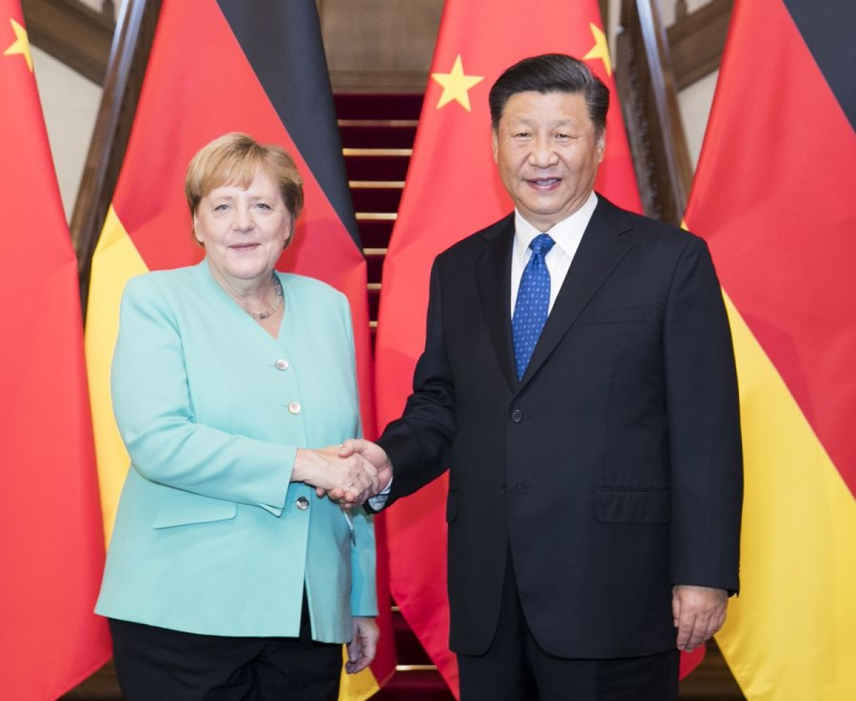 Chinese President Xi Jinping meets with visiting German Chancellor Angela Merkel in Beijing, capital of China, Sept. 6, 2019.