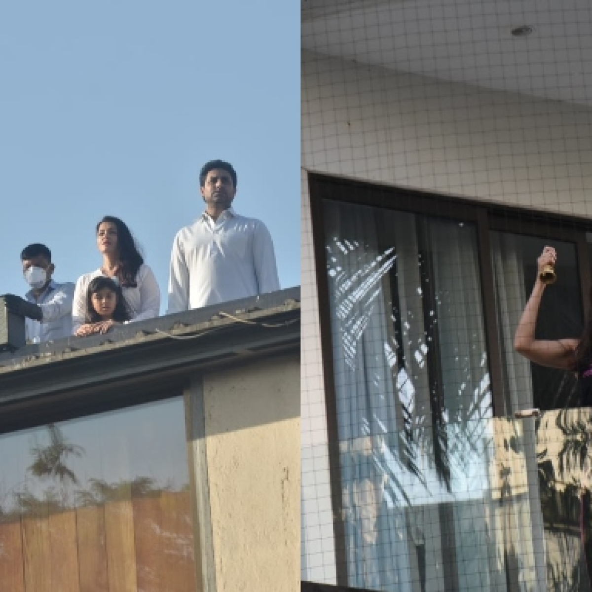 In Pics: Amitabh Bachchan, Kareena Kapoor, and other B-town celebrities show up at their balconies to clap after PM Modi's appeal