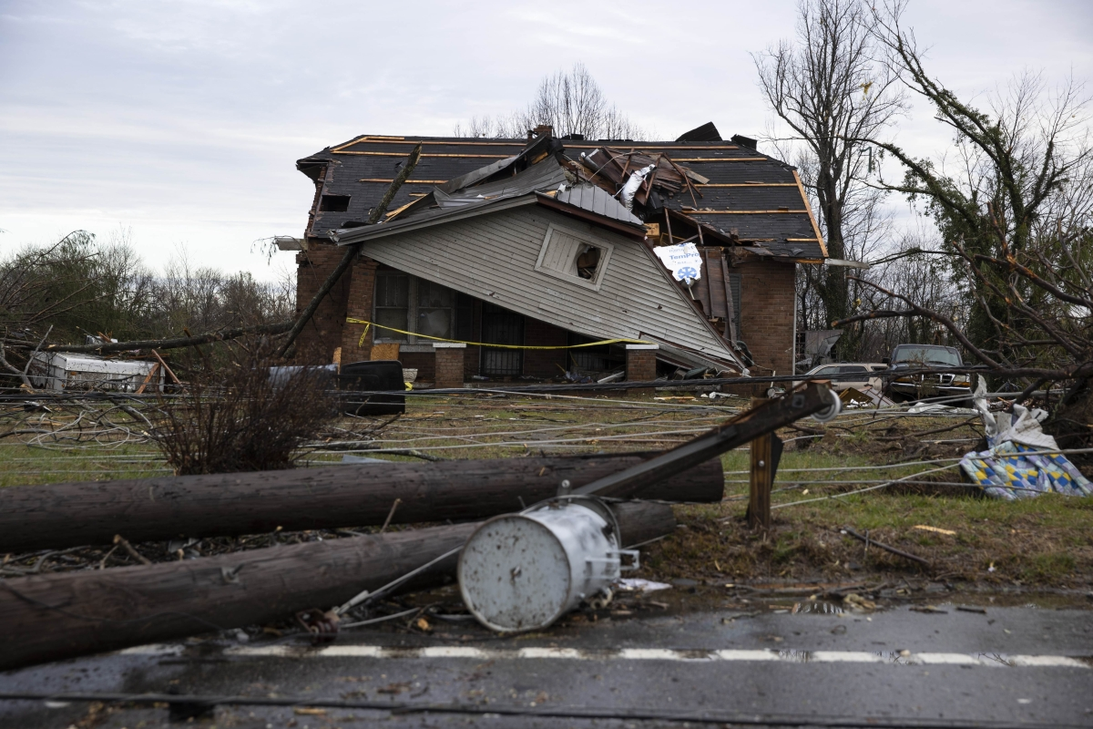A home is shown destroyed by high winds from one of several tornadoes that tore through the state overnight on March 3, 2020 in Cookeville, Tennessee. At least eight people were killed and scores more injured in the storms that caused severe damage in downtown Nashville.