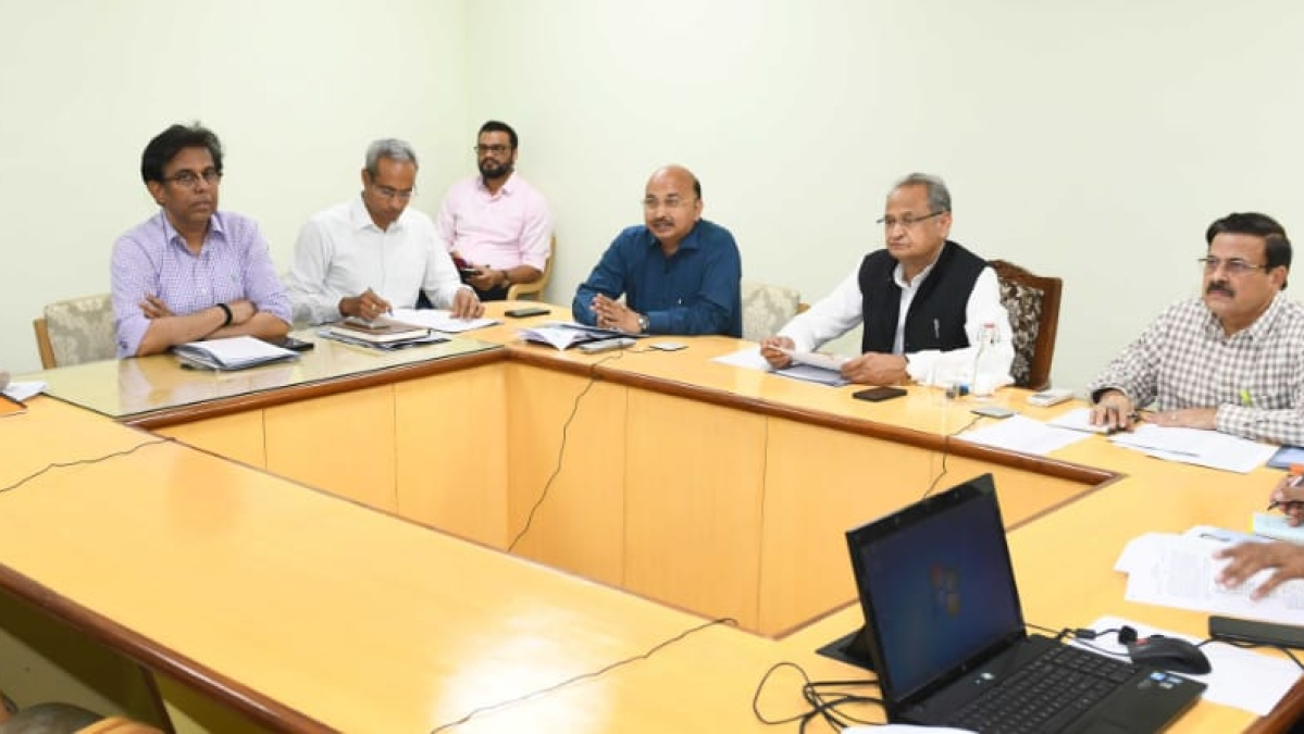 Rajasthan CM Ashok Gehlot in a video conference meeting with all district collectors.