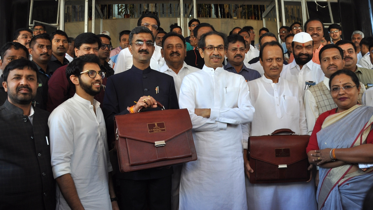 Maharashtra Chief Minister Uddhav Thackeray and Deputy CM Ajit Pawar and other ministers