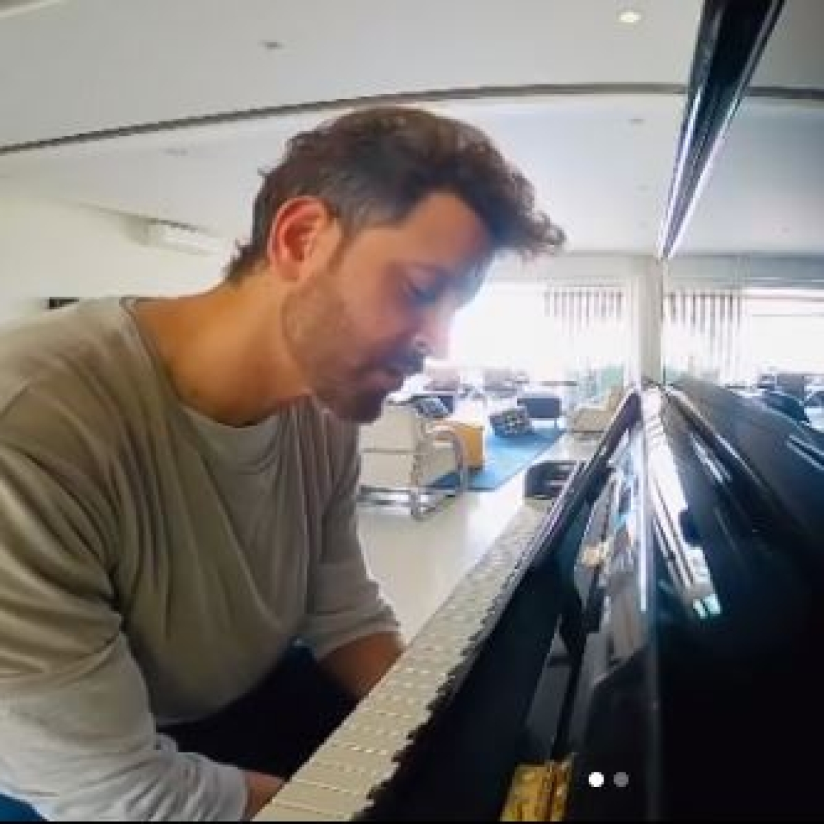 Watch: Hrithik Roshan tries hand at piano, gets photobombed by Sussane Khan