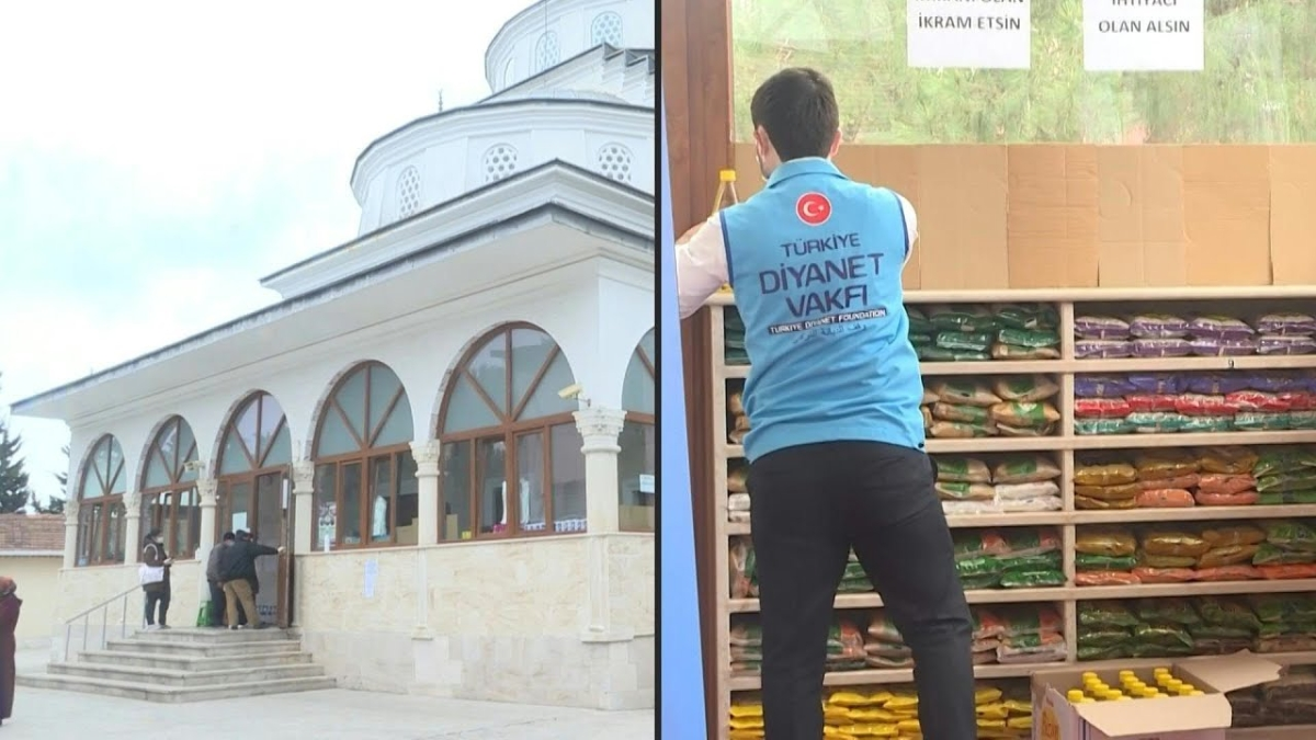 Istanbul's mosque turns temporary supermarket