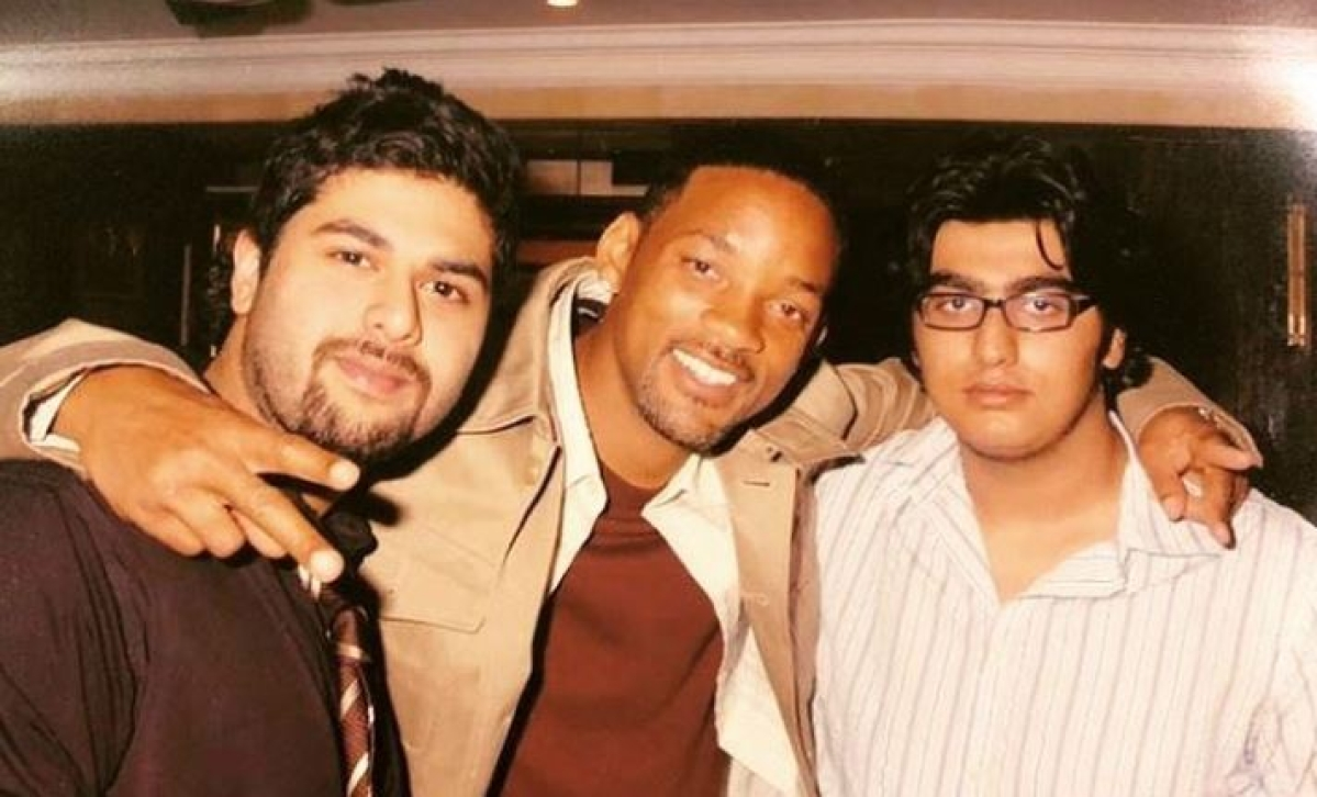 Arjun Kapoor (R) with American actor Will Smith (C) and Kunal Rawal.