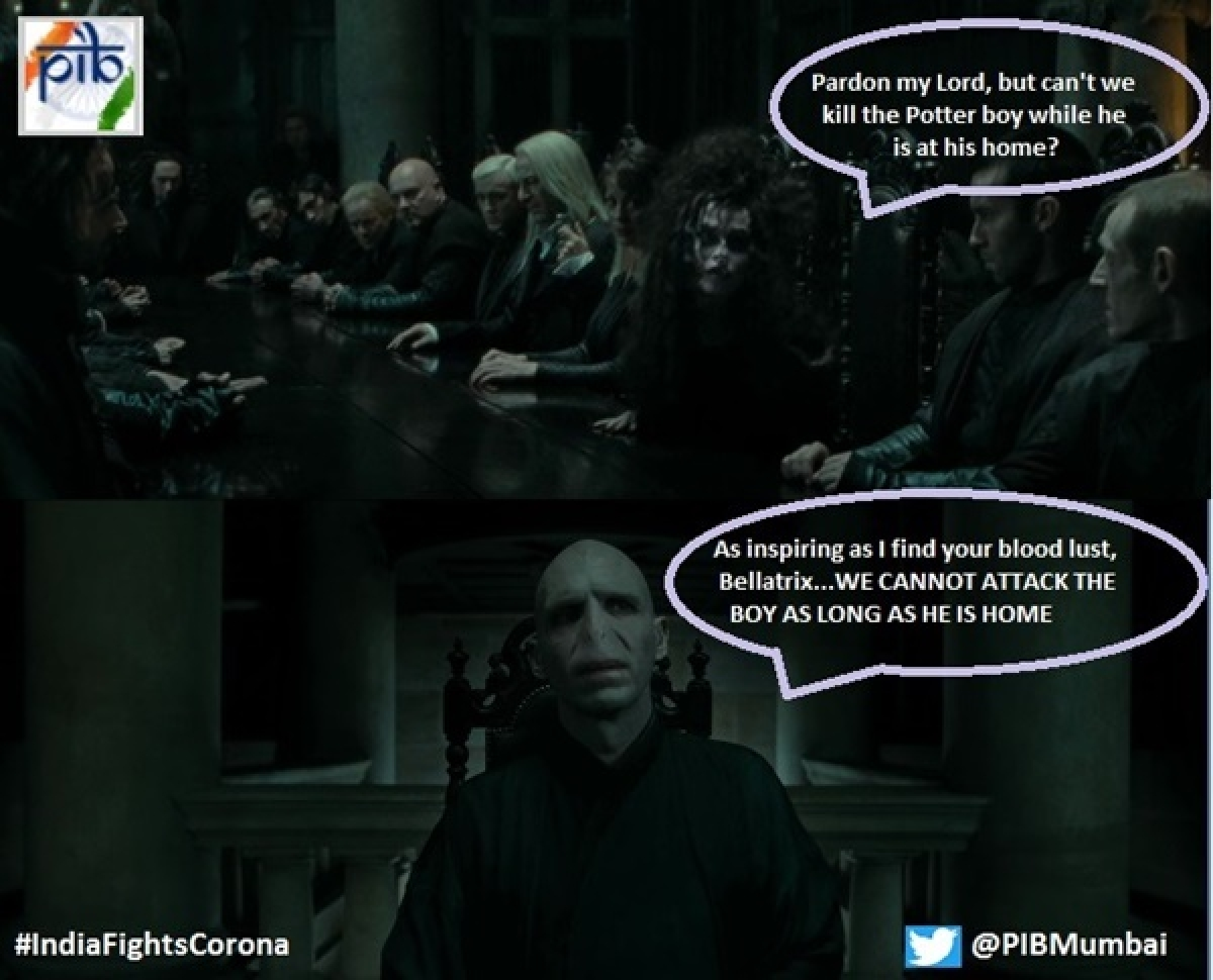 COVID-19: Press Information Bureau uses Harry Potter meme to underline importance of staying at home