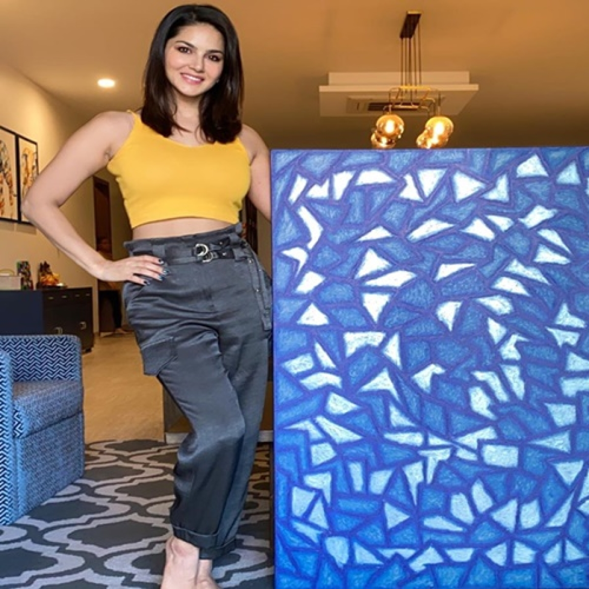 Sunny Leone reveals her 'lockdown piece of art' titled as 'broken glass'