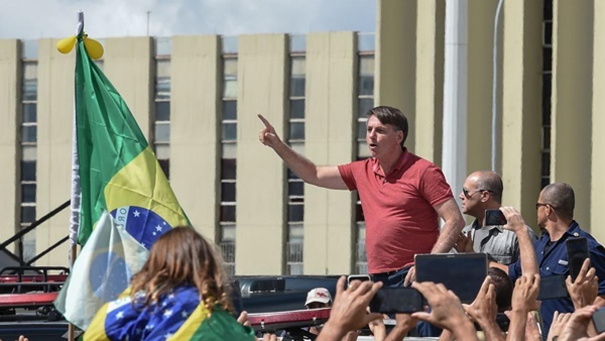 Brazil's President Jair Bolsonaro appears in protest