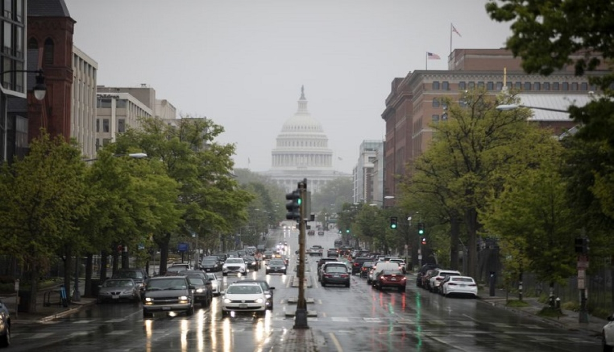 A street near the U.S. Capitol building is seen during rush hours in Washington D.C. April 23, 2020.