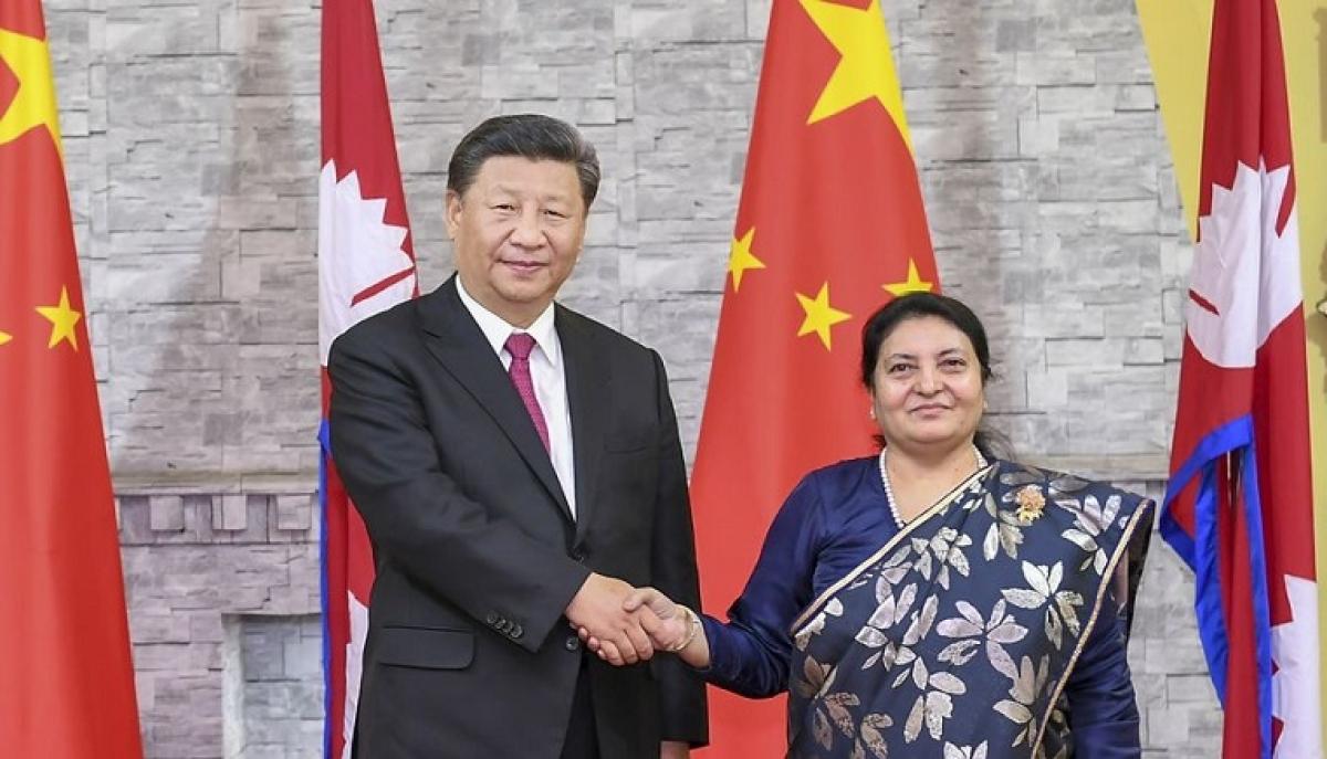 Chinese President Xi Jinping meets with Nepali President Bidhya Devi Bhandari in Kathmandu, Nepal, Oct. 12, 2019.