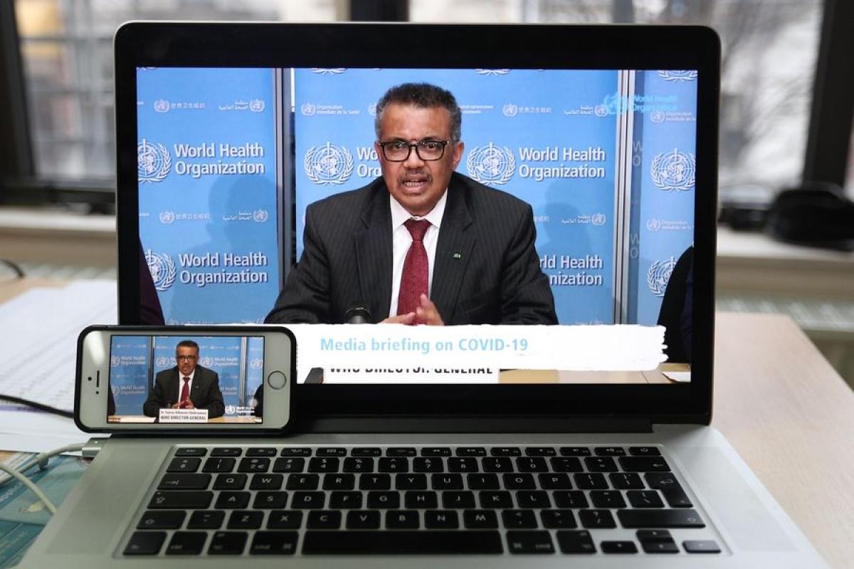 Photo taken in Brussels of Belgium on March 16, 2020 shows World Health Organization (WHO) Director-General Tedros Adhanom Ghebreyesus speaking at a virtual press conference held in Geneva, Switzerland.