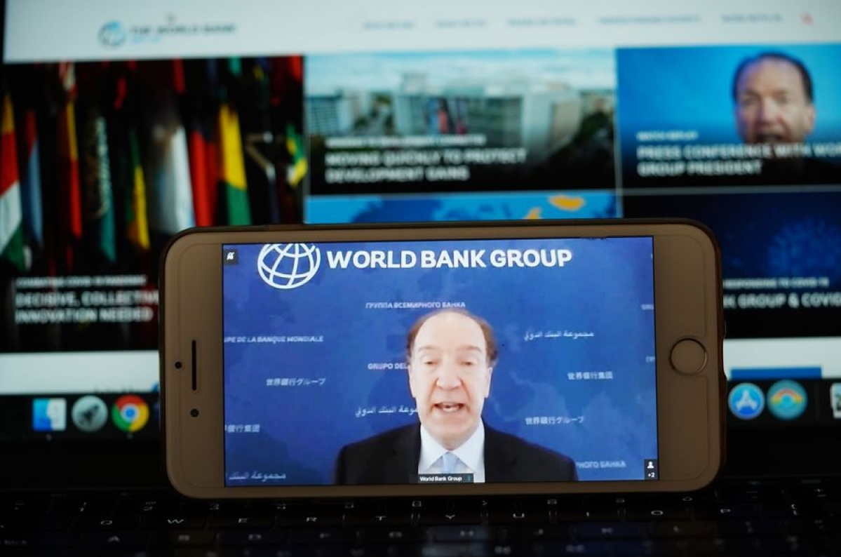 World Bank Group President David Malpass speaks at a virtual press conference, in Washington D.C., the United States, on April 17, 2020.