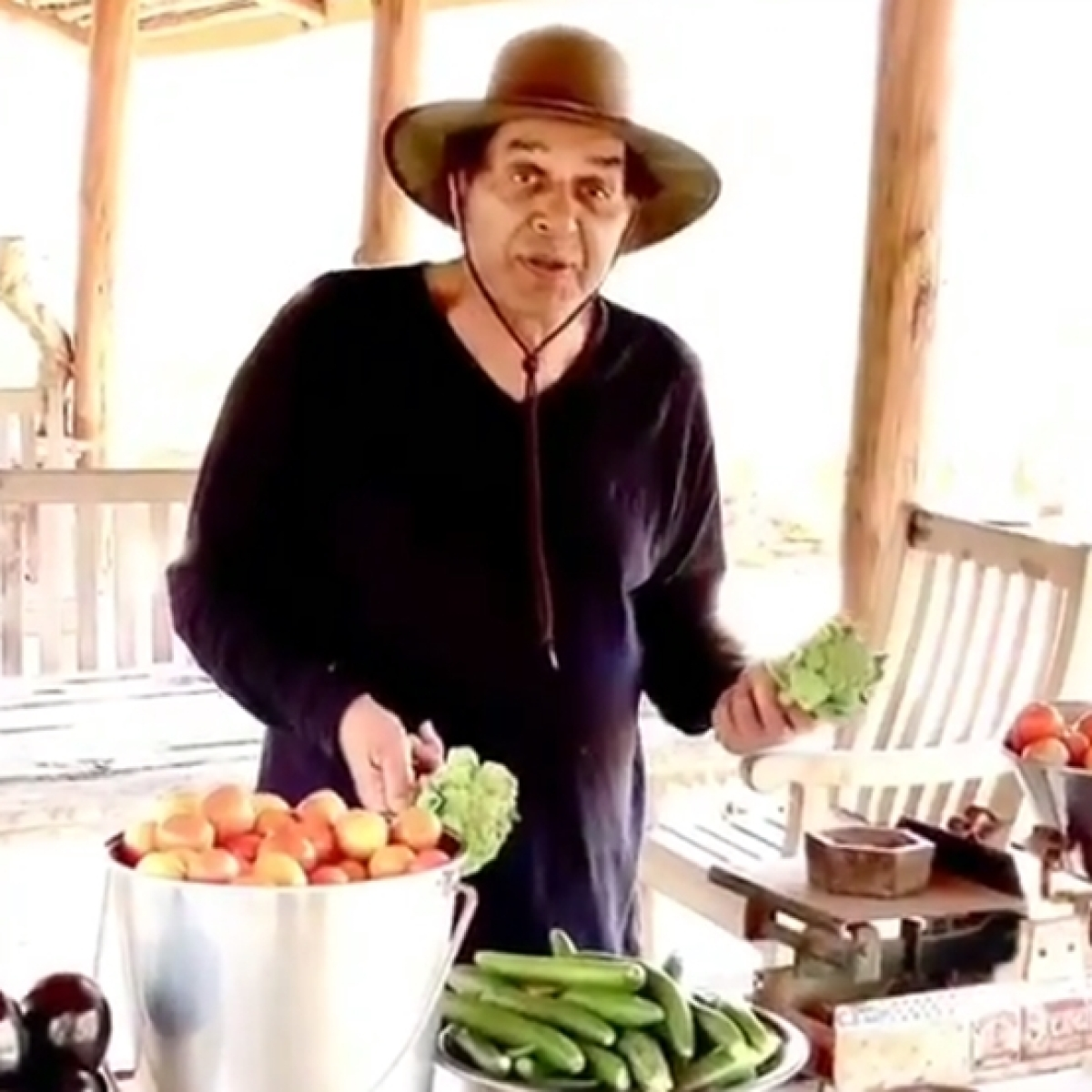 Farm to table: Dharmendra exhibits his vegetable harvest amid lockdown