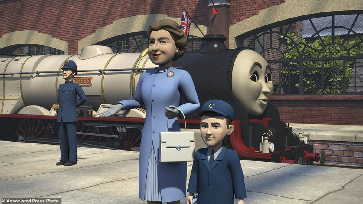 A scene featuring the Queen and Prince Charles as animated characters